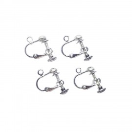 Adjustable Screwback Clip-on Leverback Earring Findings - Silver