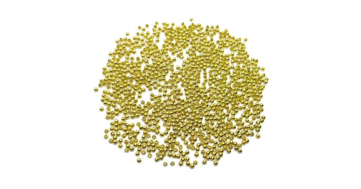 Tiny Metal Spacer Round Beads 2.4 mm - Gold