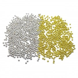 Tiny Metal Spacer Round Beads 2.4 mm - Silver Gold Mixed