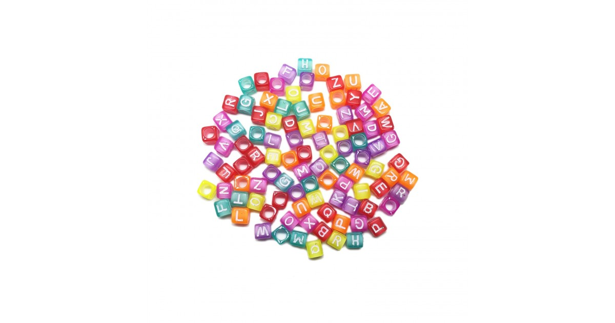 Alphabet Translucent Cube Beads
