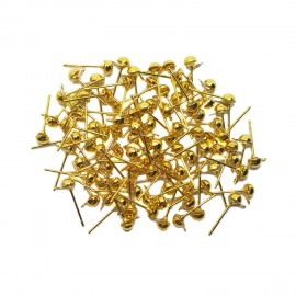 Half Ball Earring Stud Pins - Gold