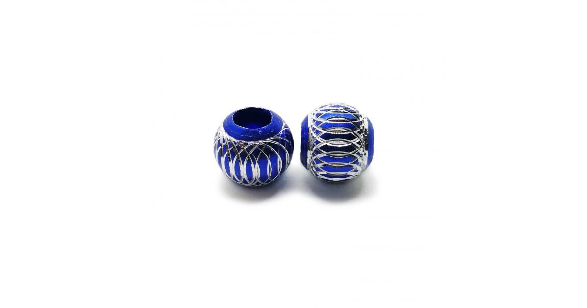 European Style Aluminum Ball Charm Beads - 15mm - Royal Blue