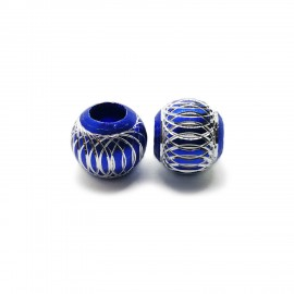 European Style Aluminum Ball Charm Beads - 15mm - Royal Blue