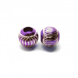 European Style Aluminum Ball Charm Beads - 15mm - Purple