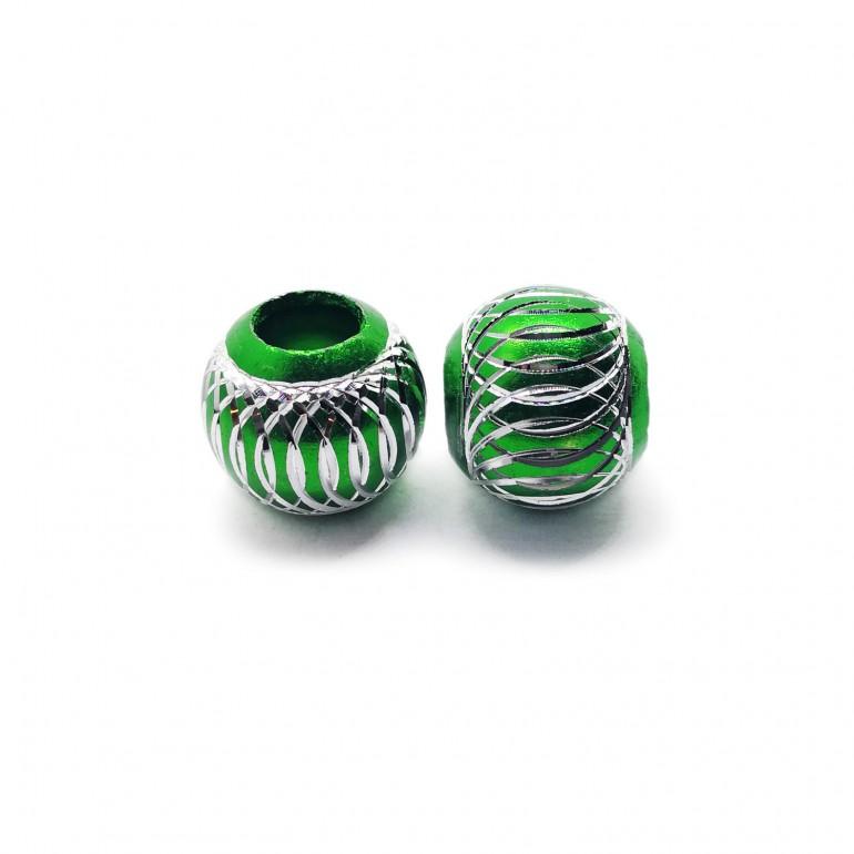 European Style Aluminum Ball Charm Beads - 15mm - Emerald Green