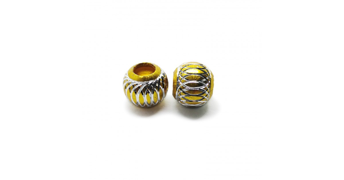 European Style Aluminum Ball Charm Beads - 15mm - Gold
