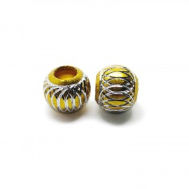 European Style Aluminum Ball Charm Beads - 15mm - Gold