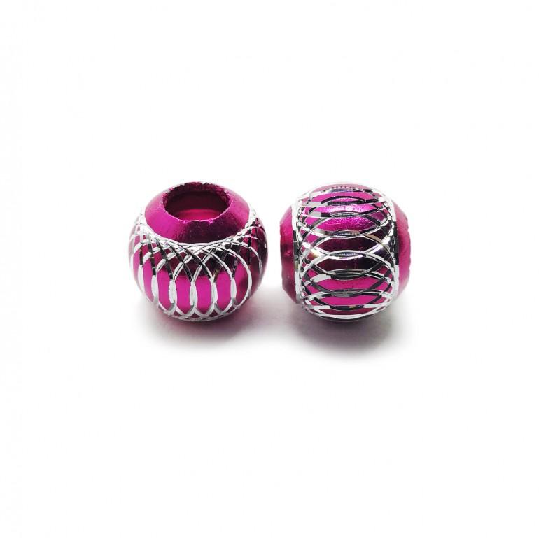 European Style Aluminum Ball Charm Beads - 15mm - Fuchsia