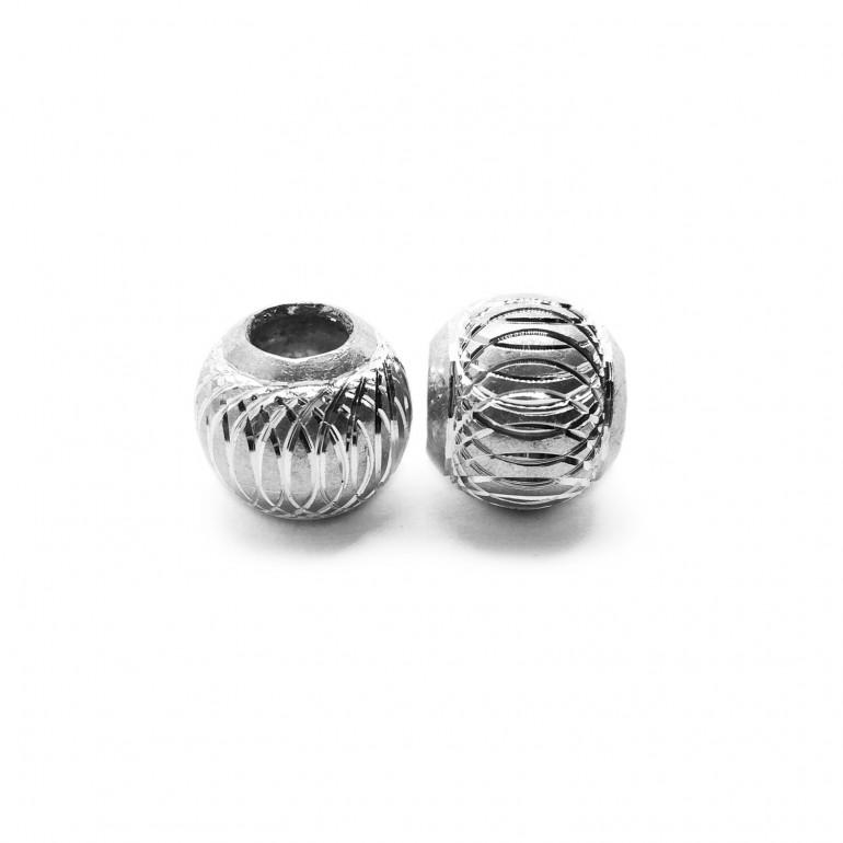 European Style Aluminum Ball Charm Beads - 15mm - Silver