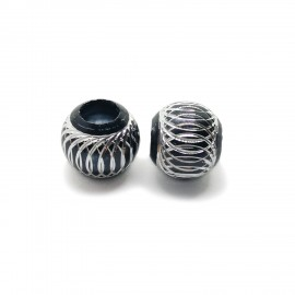 European Style Aluminum Ball Charm Beads - 15mm - Black
