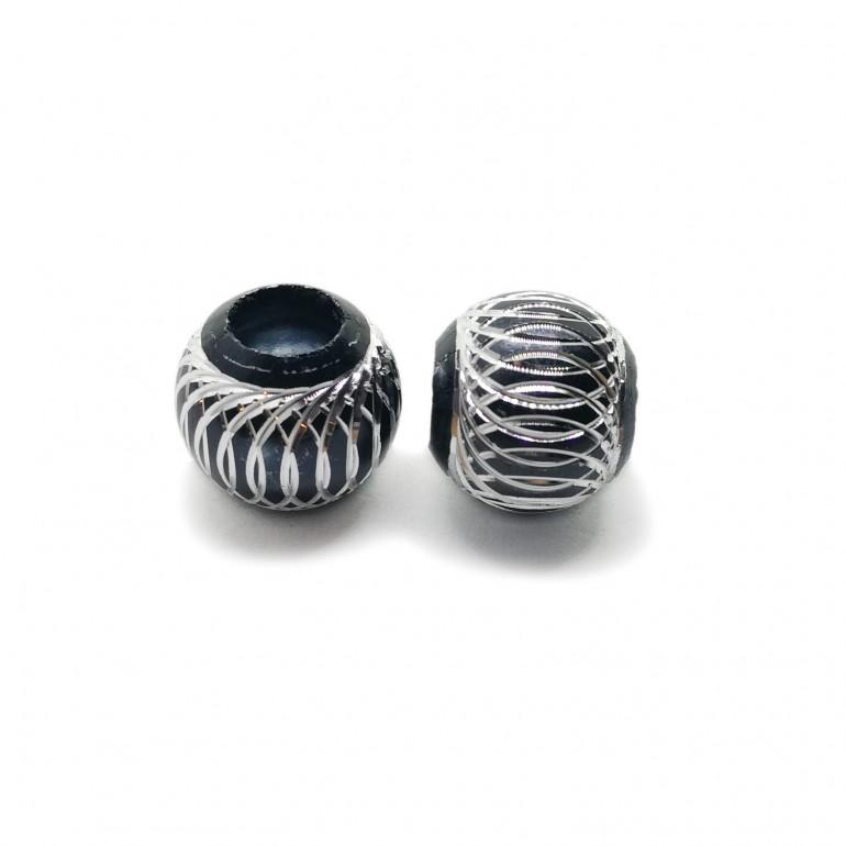 European Style Aluminum Ball Charm Beads - 15mm - Black
