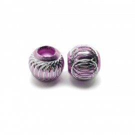 European Style Aluminum Ball Charm Beads - 15mm - Light Pink