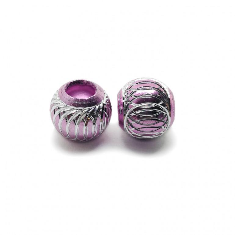 European Style Aluminum Ball Charm Beads - 15mm - Light Pink