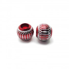 European Style Aluminum Ball Charm Beads - 15mm - Red
