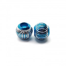 European Style Aluminum Ball Charm Beads - 15mm - Turquoise
