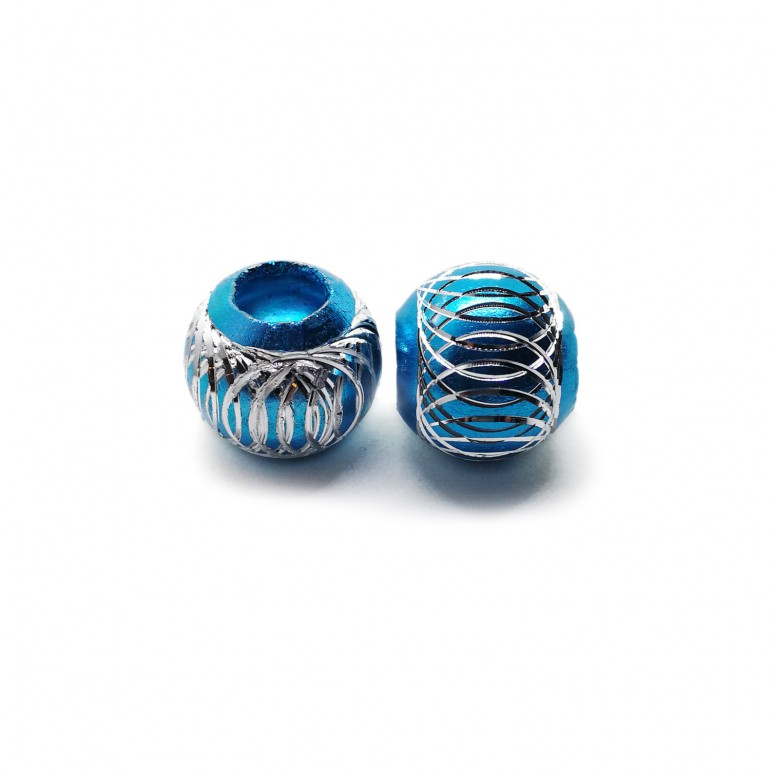 European Style Aluminum Ball Charm Beads - 15mm - Turquoise