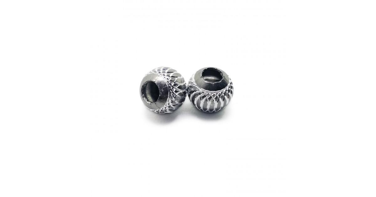 European Style Aluminum Ball Charm Beads - 15mm - Grey