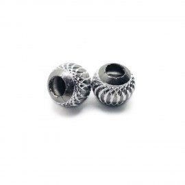 European Style Aluminum Ball Charm Beads - 15mm - Grey