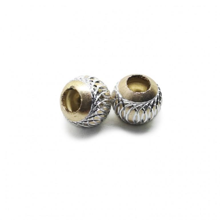 European Style Aluminum Ball Charm Beads - 15mm - Champagne