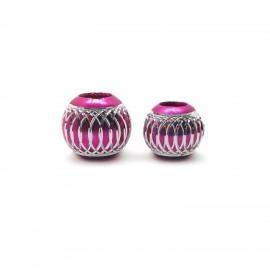 European Style Aluminum Ball Charm Beads - 12mm 15mm - Fuchsia