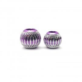 European Style Aluminum Ball Charm Beads - 12mm 15mm - Purple