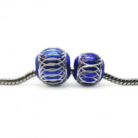 European Style Aluminum Ball Charm Beads - 12mm 15mm - Royal Blue