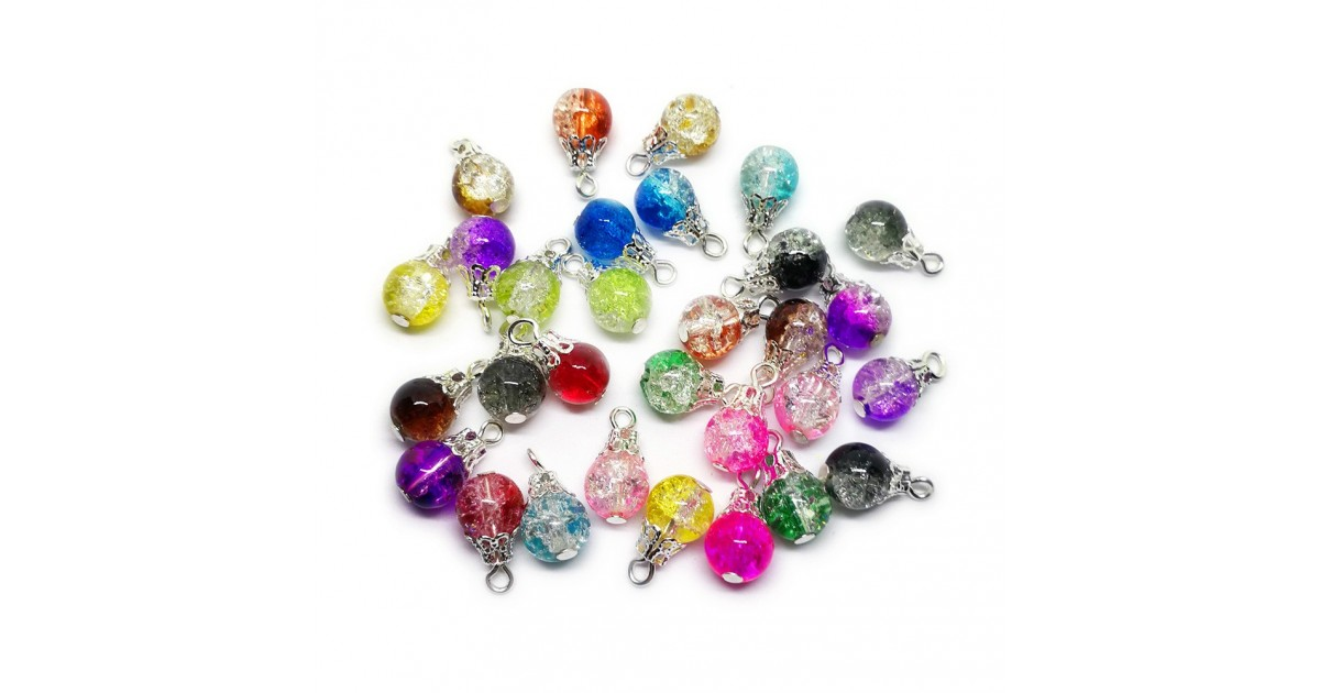 Handcrafted Crackle Glass Bead Drops - Assorted Silver
