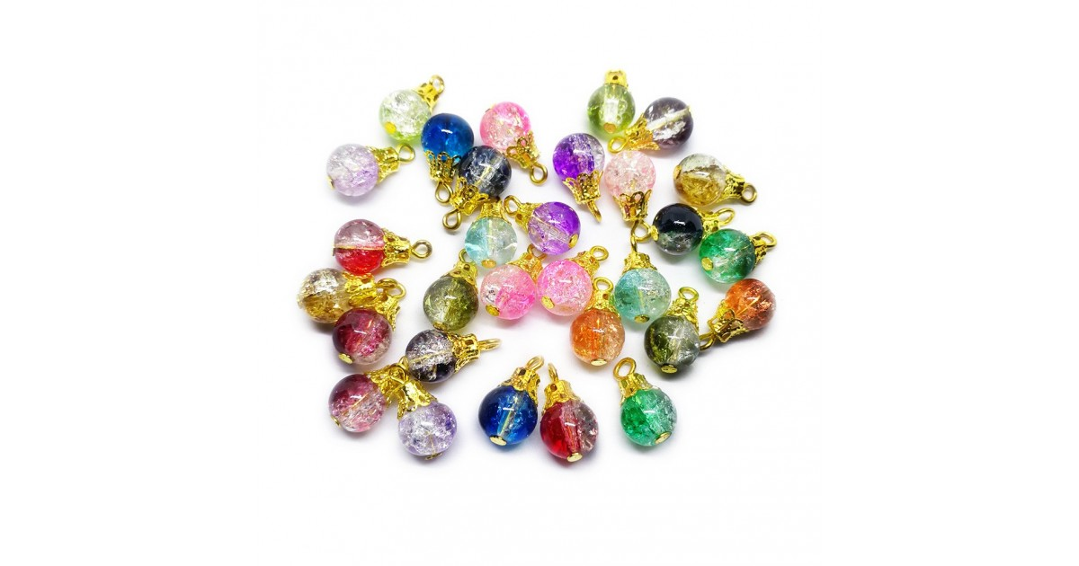 Handcrafted Crackle Glass Bead Drops - Assorted Gold