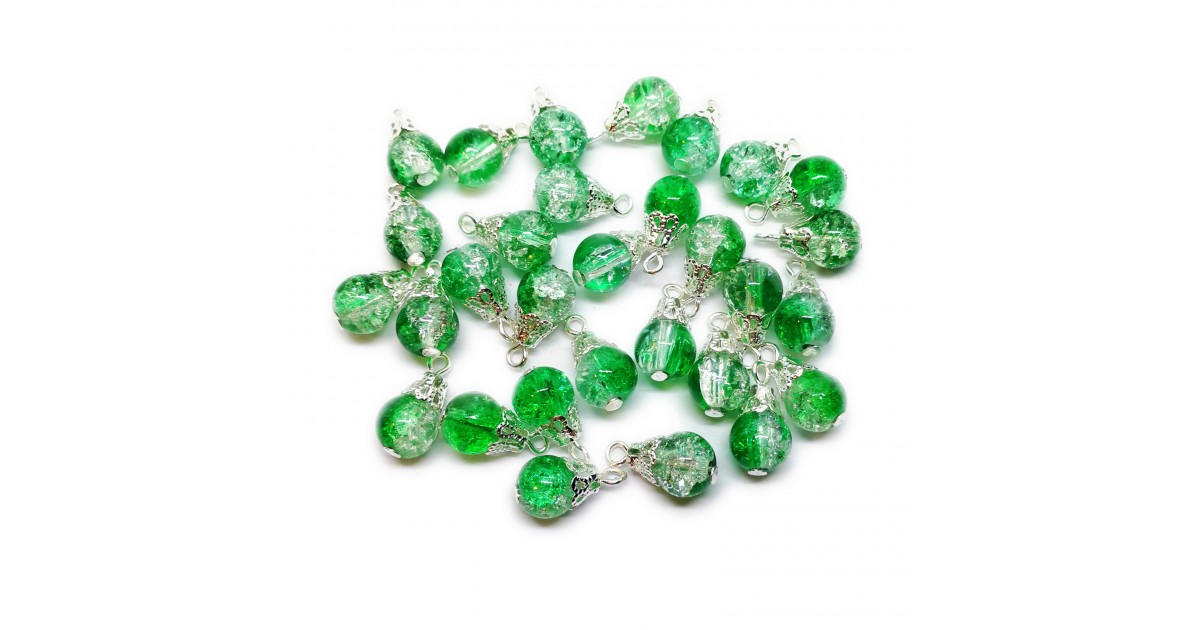 Handcrafted Crackle Glass Bead Drops 8 mm - Green