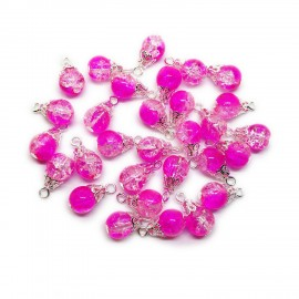 Handcrafted Crackle Glass Bead Drops 8 mm - Hot Pink