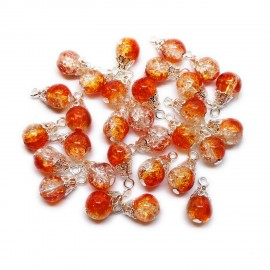 Handcrafted Crackle Glass Bead Drops 8 mm - Orange