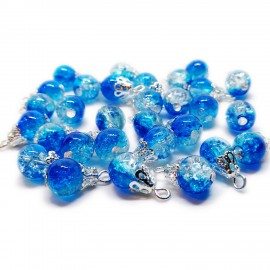 Handcrafted Crackle Glass Bead Drops 8 mm - Royal Blue
