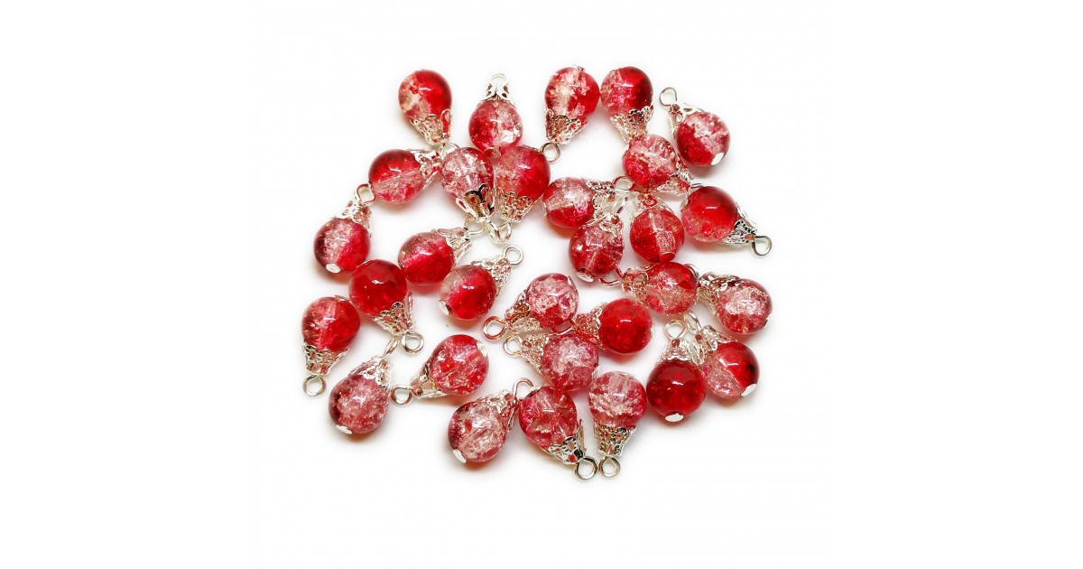 Handcrafted Crackle Glass Bead Drops 8 mm - Red