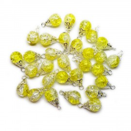 Handcrafted Crackle Glass Bead Drops 8 mm - Yellow