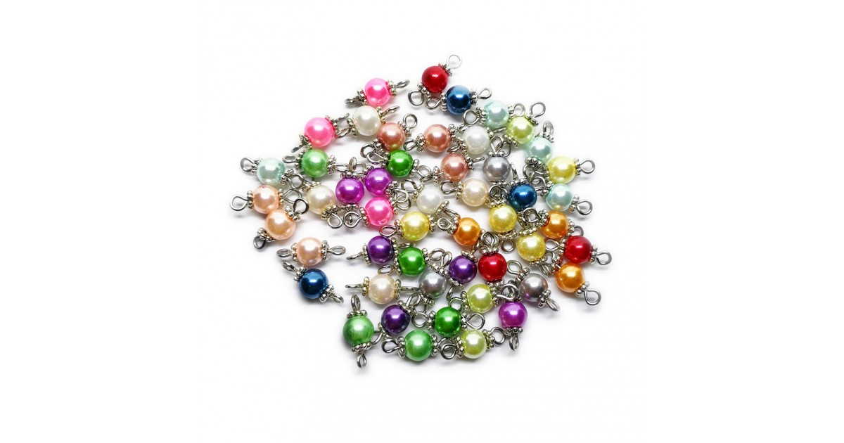 Handcrafted Glass Pearl Bead Links - Assorted Colors