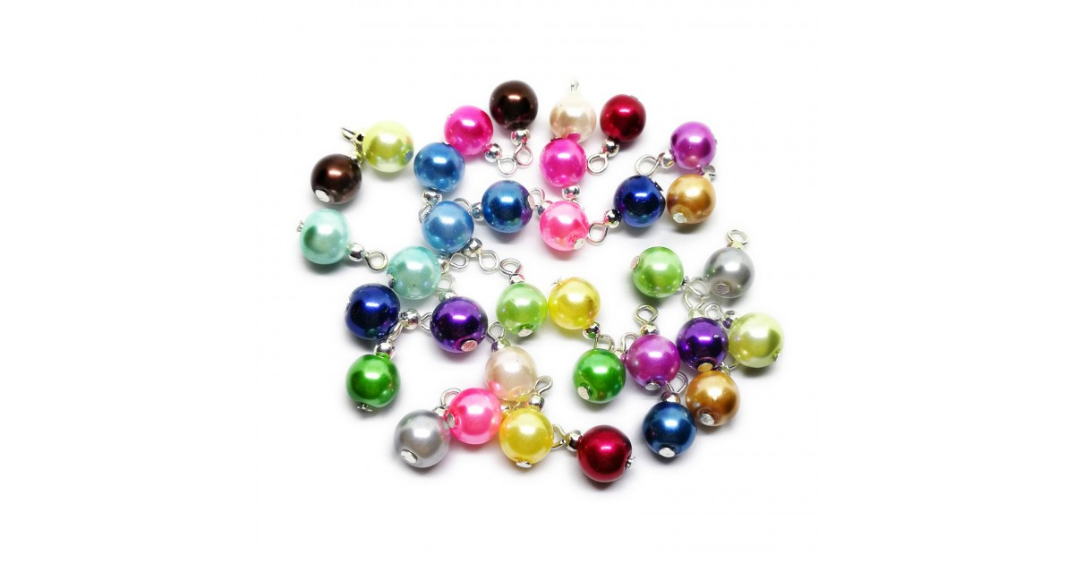 Handcrafted Glass Pearl Bead Drops - Silver