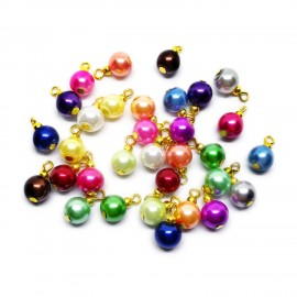 Handcrafted Glass Pearl Bead Drops - Gold