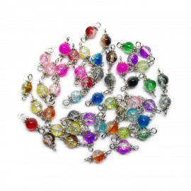 Handcrafted Crackle Glass Bead Links 6mm- Assorted Colors