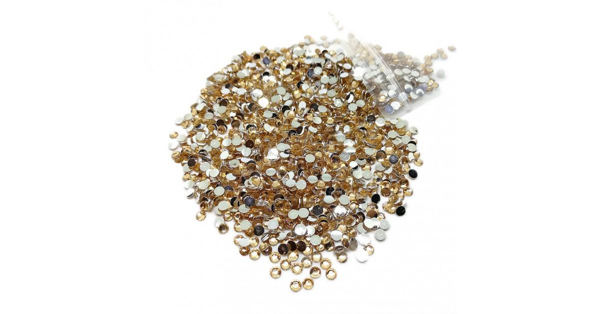 Round Flat-back Rhinestone Beads 3mm -Champange