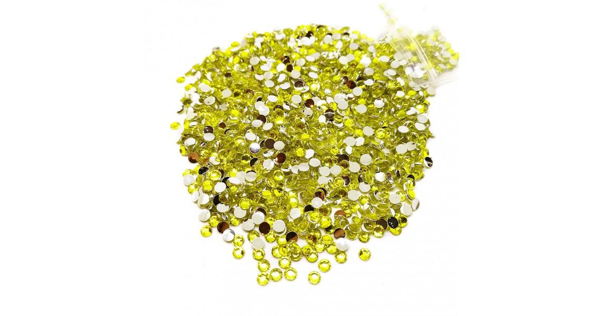 Round Flat-back Rhinestone Beads 3mm -Yellow