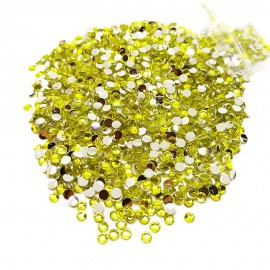 Round Flat-back Rhinestone Beads 3mm -Yellow