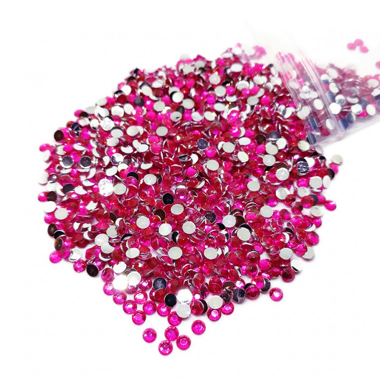 Round Flat-back Rhinestone Beads 3mm -Hot Pink