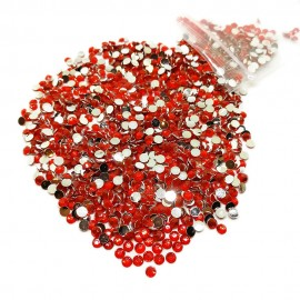 Round Flat-back Rhinestone Beads 3mm -Fire Orange