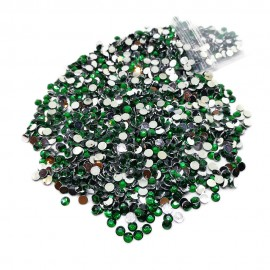 Round Flat-back Rhinestone Beads 3mm -Emerald Green