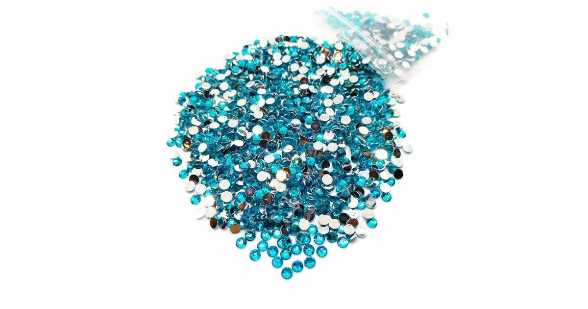 Round Flat-back Rhinestone Beads 3mm -Turquoise Blue