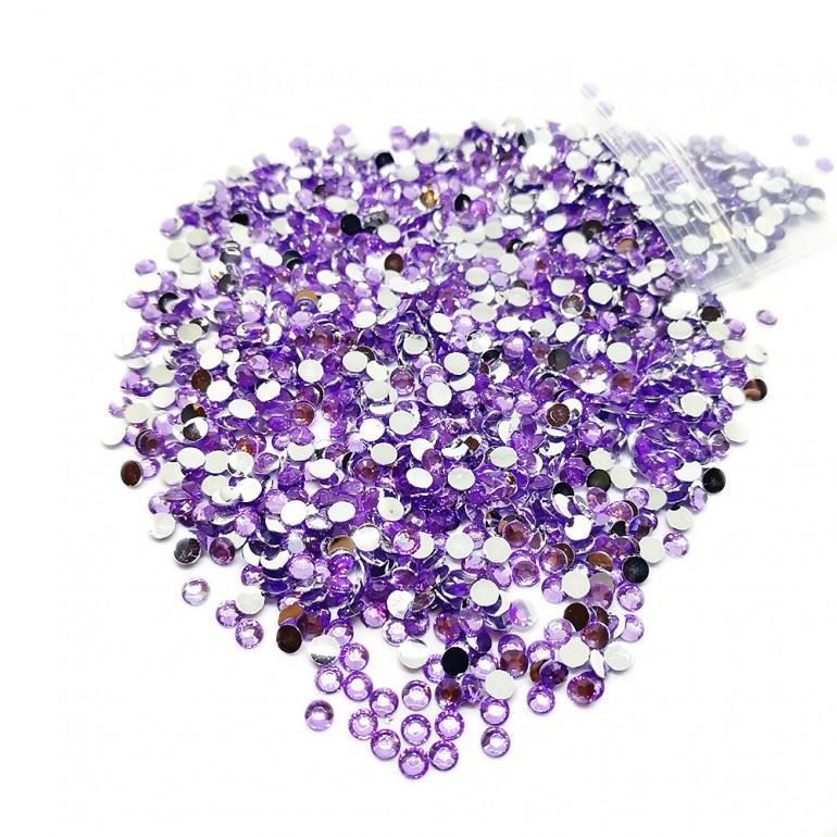 Round Flat-back Rhinestone Beads 3mm -Lilac Purple