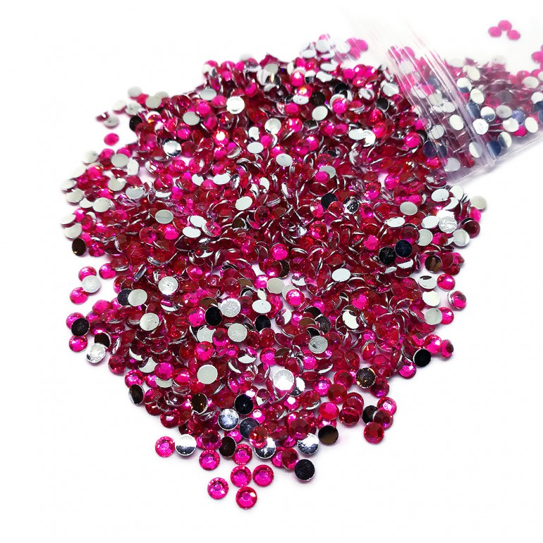 Round Flat-back Rhinestone Beads 3mm -Fuchsia