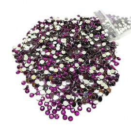 Round Flat-back Rhinestone Beads 3mm -Grape