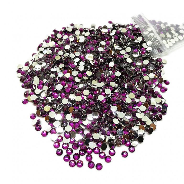 Round Flat-back Rhinestone Beads 3mm -Grape