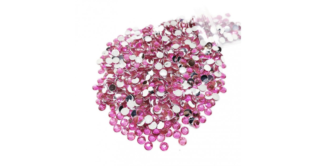 Round Flat-back Rhinestone Beads 4mm - Pink
